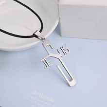 Fashion necklaces JESUS cross Pendant 316L Stainless Steel necklaces & pendants Leather Chain women & men jewelry(China (Mainland))