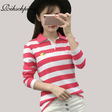 Rihschpiece Sexy Embroidery Polo Shirt Women Long Sleeve Shirts Sexy Oversize Tops Stripe Punk American Apparel Polo RZF865(China (Mainland))