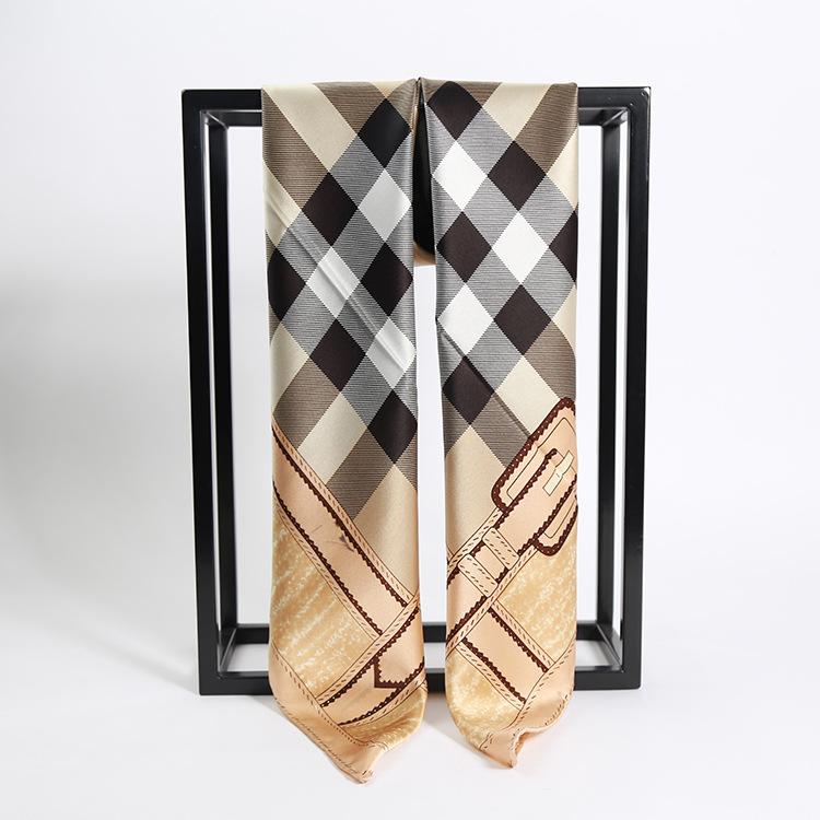Classic Checker 88cm 2016 women's silk Square scarf Heavy Crepe Satin Plain Square silk Scarves 100% Silk scarf Free Shipping(China (Mainland))