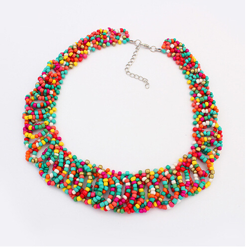 Brand designer Bohemian ethnic style colorful beads bib necklace Cross Weave Chain Statement jewelry for women 2014 M14(China (Mainland))