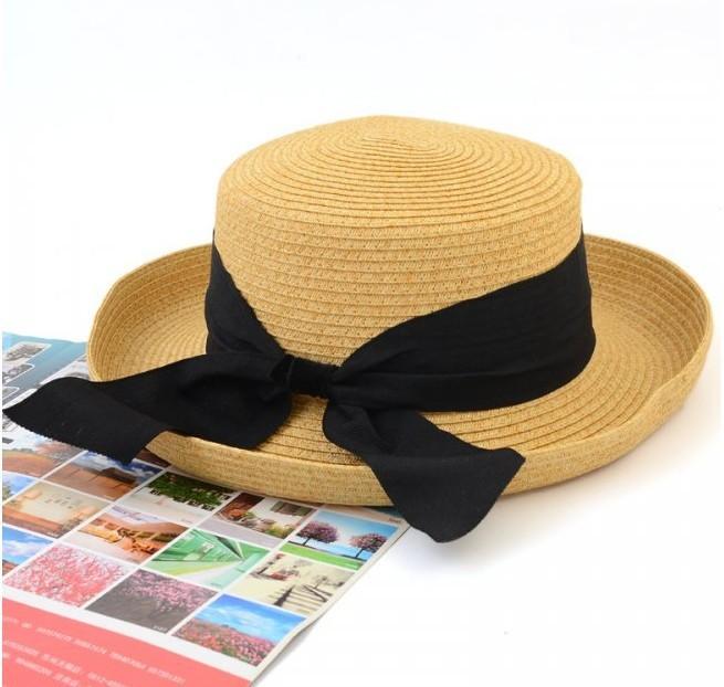 wholesale and retail fashion wide brim black bow