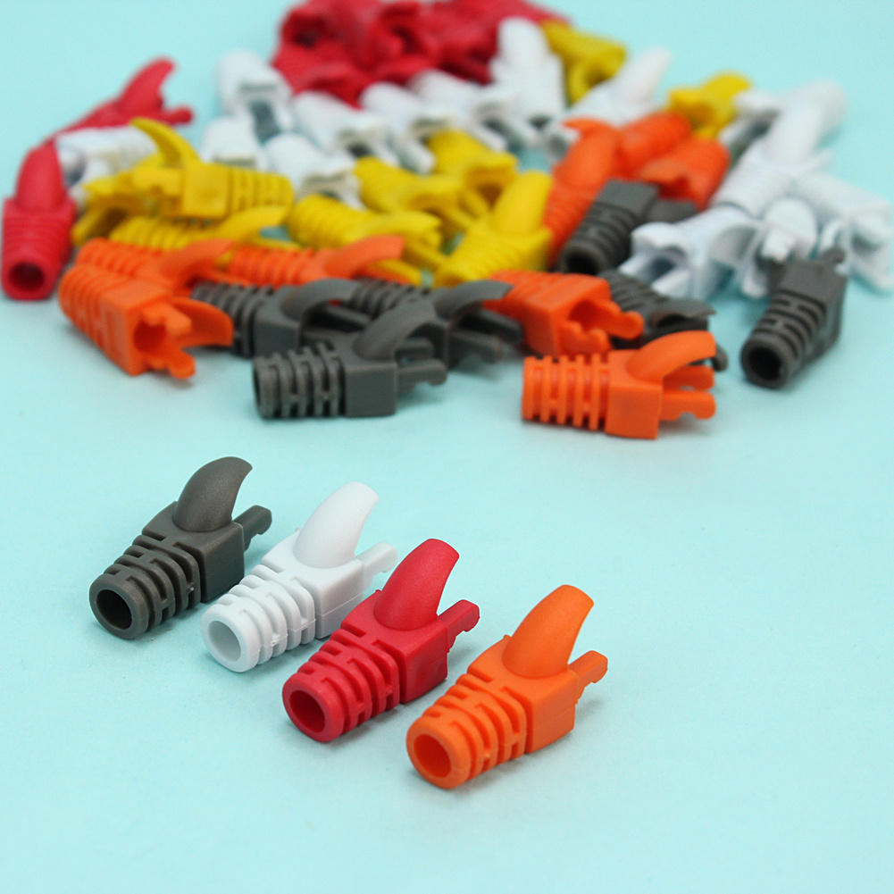 50 Pcs Plastic Network RJ45 Cable Ends Plug Connector Cover Protector Boots Cap Cat5 Cat6 Safety Hot Sale(China (Mainland))