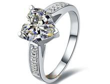 THREEMAN Микро Проложили Сердце 2CT Гарантия Серебро Белый Позолоченные Имитация Кольцо С Бриллиантом Женщин Свадебное Модный Ювелирные Изделия(China (Mainland))