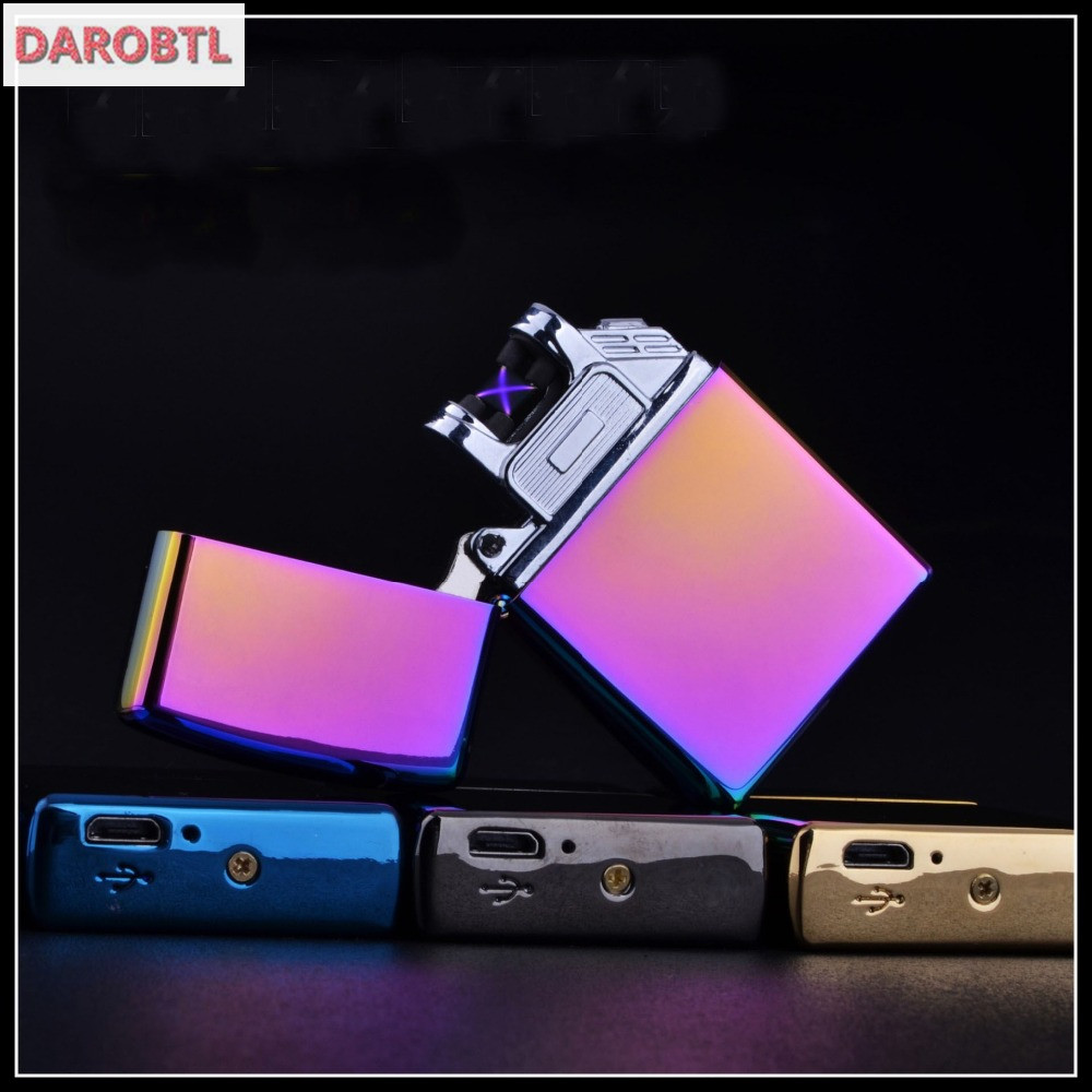 New arc lighter Double Pulsed Arc Slim Windproof cigarette cigar Lighter Personality Electronics usb novelty smoking Lighter(China (Mainland))