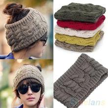 Fashion Korean Winter Warm Women's Braided Knit Wool Hat Cap Headband Hair band  1P21(China (Mainland))
