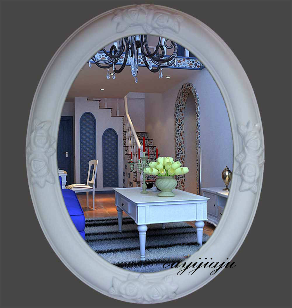 large big decorative cosmetic antique oval wall mirror with frame vintage mirror royal style wedding gift bathroom home decor(China (Mainland))
