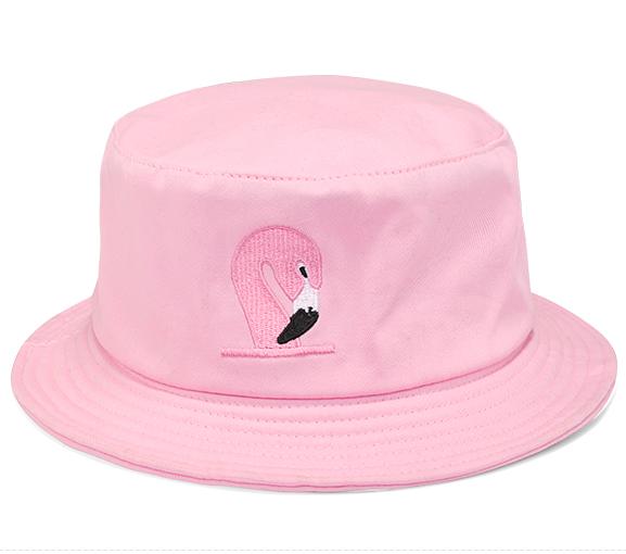 2016 summer flamingo embroidery bucket hat bob chapeau cartoon fisherman cap outdoor sun shade boonie fishing hat for women men(China (Mainland))