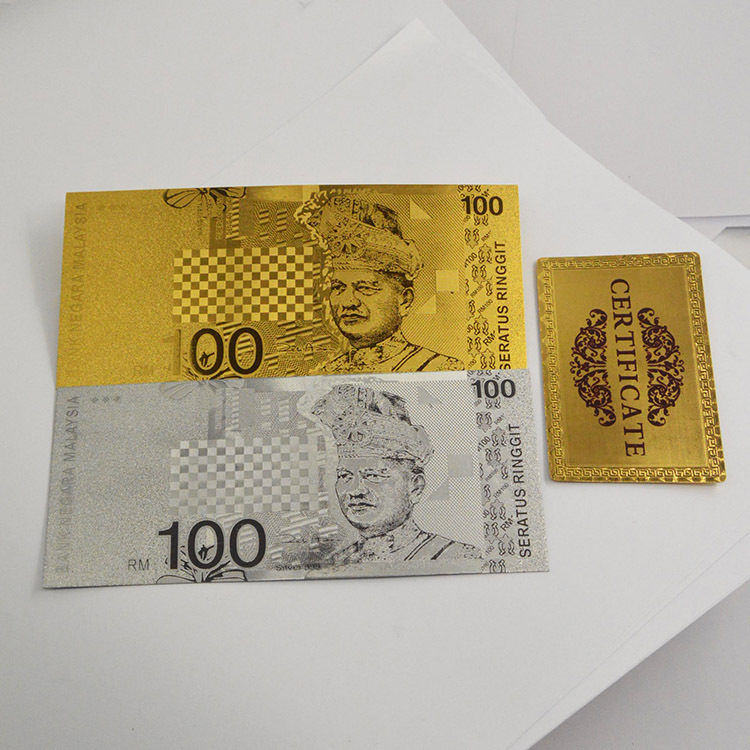 New Design 2Pcs/Lot Malaysia 100 Ringgit Metal Gold&Silver Plated Banknote Paper Money Decoration With Gold Certification(China (Mainland))