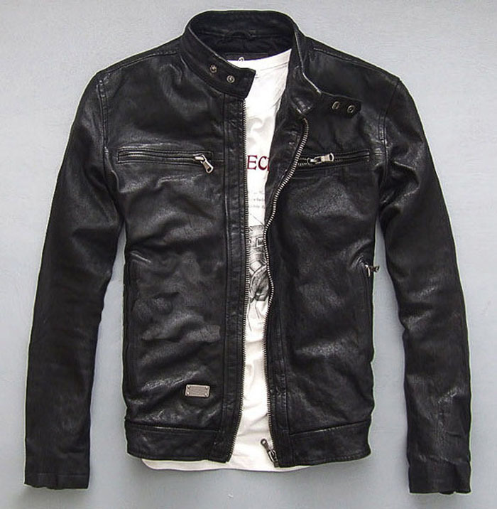 Factory Men Leather Jacket Genuine Real Sheep Goat skin Brand Black Male Bomber Motorcycle Biker Man's Coat Autumn Jaqueta ZH031(China (Mainland))