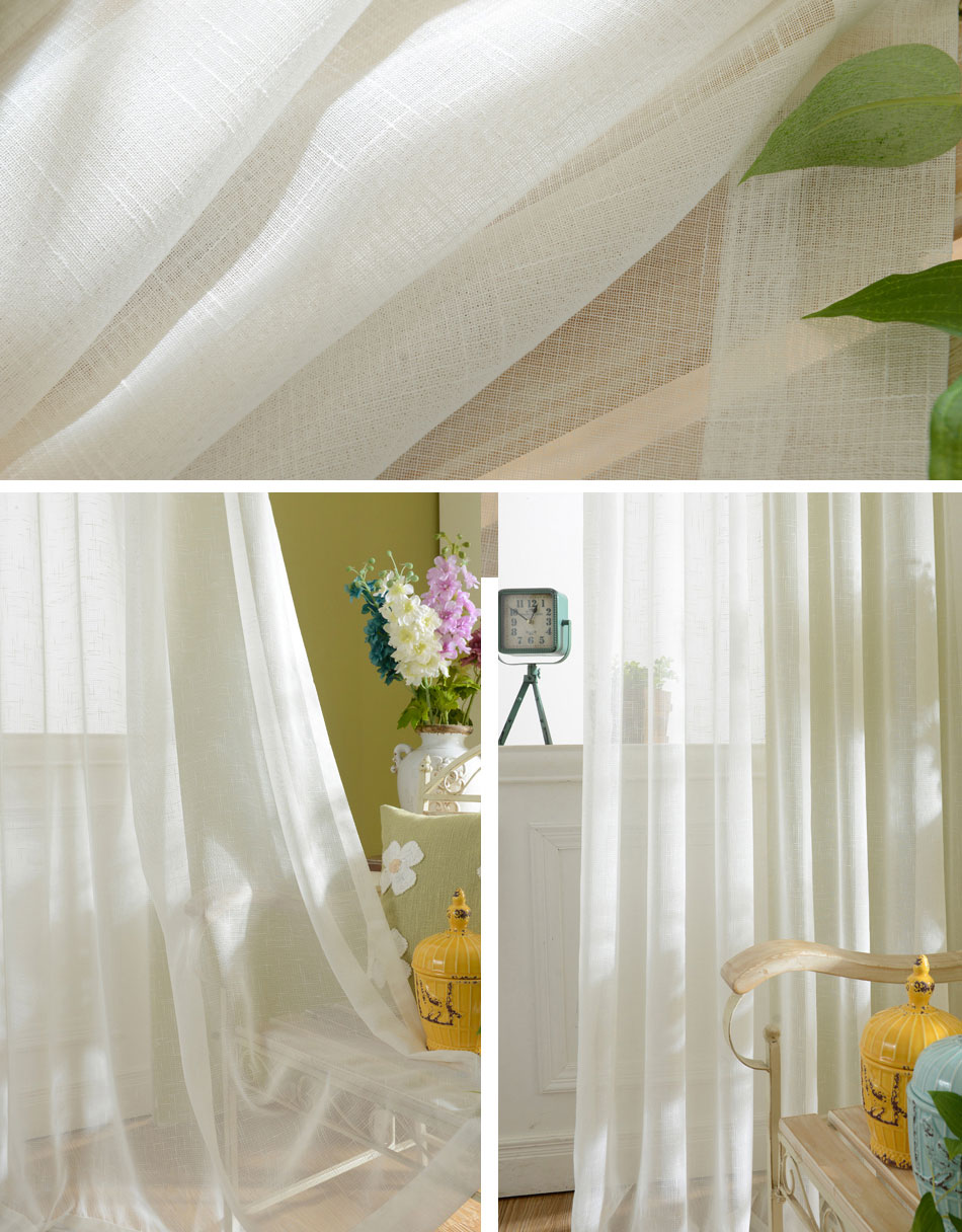 DSinterior Finished solid pure white voile panel sheer for window