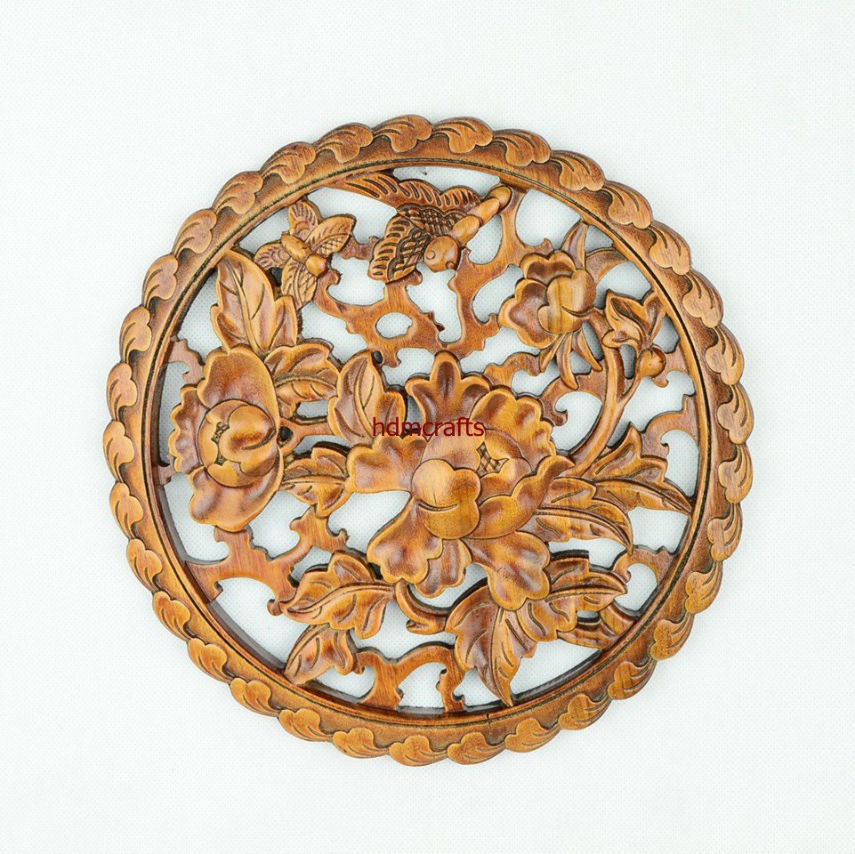 Chinese round flower butterfly carving art wooden framed for Unique decorative accessories