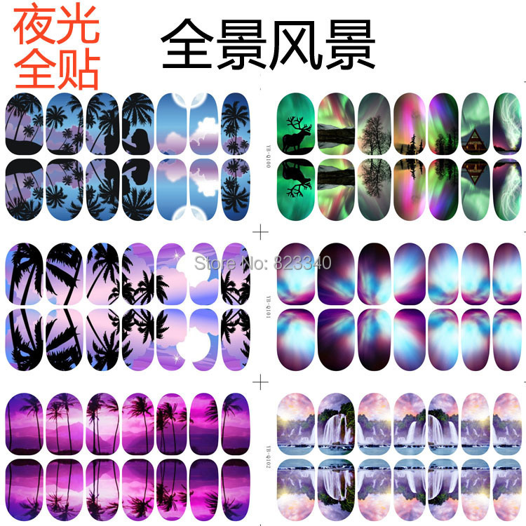 10 Sheet Water Decals Transfer Nail Art Stickers Multicolor Glow Panoramic Series Pattern Nail Art Decoration Fingernail Tools(China (Mainland))
