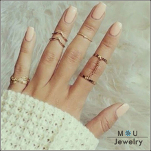 2016 New Fashion 6pcs /set Unique style Gold plated Stacking Midi Finger Knuckle rings Cute Leaf Ring Set For women RBK001(China (Mainland))