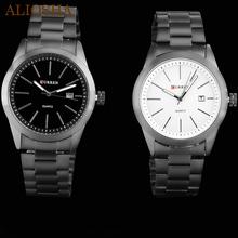 ALIOSHA Original Curren titanium black men military sports watches quartz fashion watch full steel band watch