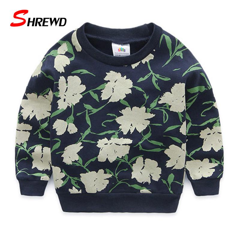Kids Sweatshirt Auutmn 2016 New Fashion Flower Printing Kids Boys Sweatshirts Long Sleeve Cute Casual Baby Boy Clothes 4284W от Aliexpress INT