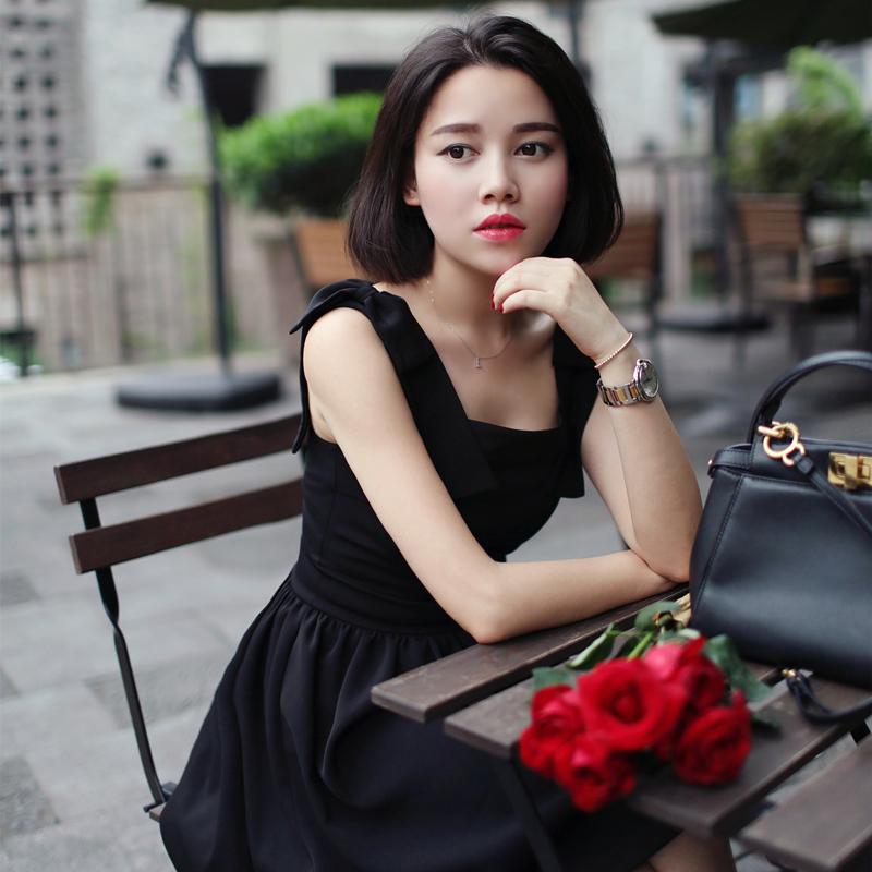 SUMMER WOMEN VINTAGE 50s aUDREY hEPBURN STYLE SLEEVELESS BOW RED LITTLE BLACK DRESS COTTON PLUS SIZE 4XL VESTIDOS pin up DRESSES(China (Mainland))