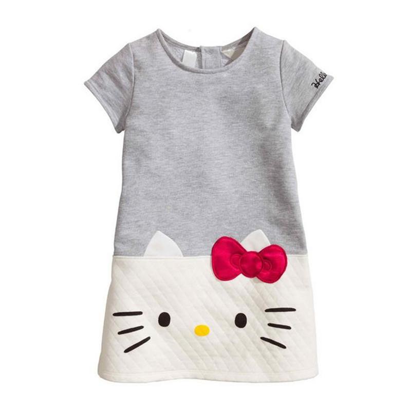 2016 Children Fashion Clothing Baby Girls Dresses Hello Kitty decoration Dresses For Girls Princess Printed Cotton Dress Childre(China (Mainland))