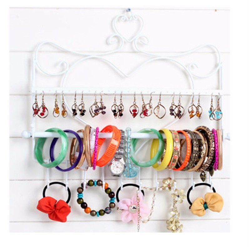 2015 New Hot Wrought Iron Wall Mounted Frame Earring Necklace Holder Bronze Accessory Storage Rack Jewelry Plaid Display Stand(China (Mainland))