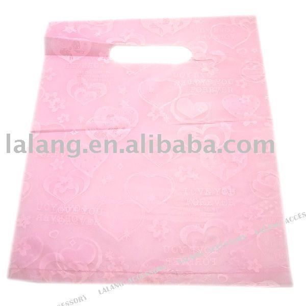 400x Pink Charm Heart Plastic Shopping & Carrier Gift Bags Fit Shipping 25*20cm 120177