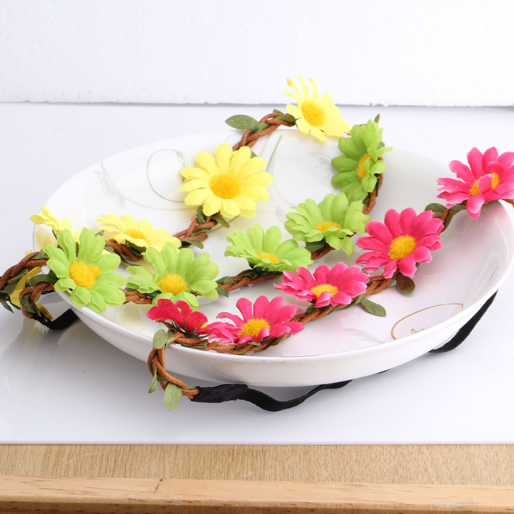 1 Pc Wholesale Price Headwear 8 Colors Summer Style Wedding or Women Party Accessories Girls Hair Accessories Flower Headband(China (Mainland))