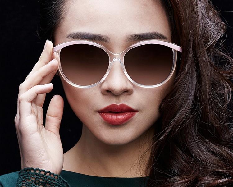 Fashion Retro Classic Sunglasses Cat Eye Semi-Rim Round Sunglasses
