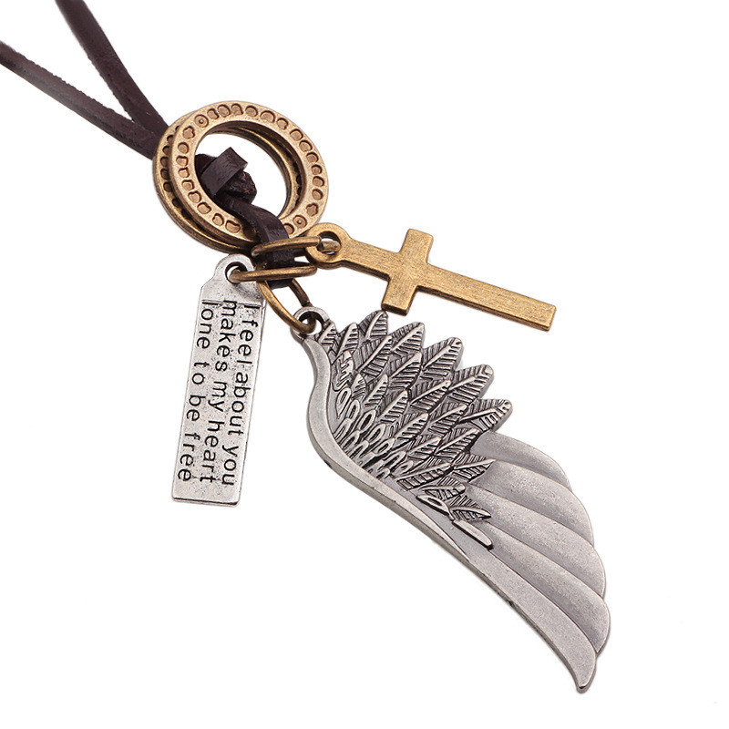 JS Maxi Colar Masculio Couro Male Leather Necklace Angel Wings <font><b>Neckless</b></font> Men Best Friends Neclace Friendship Jewelery LB074