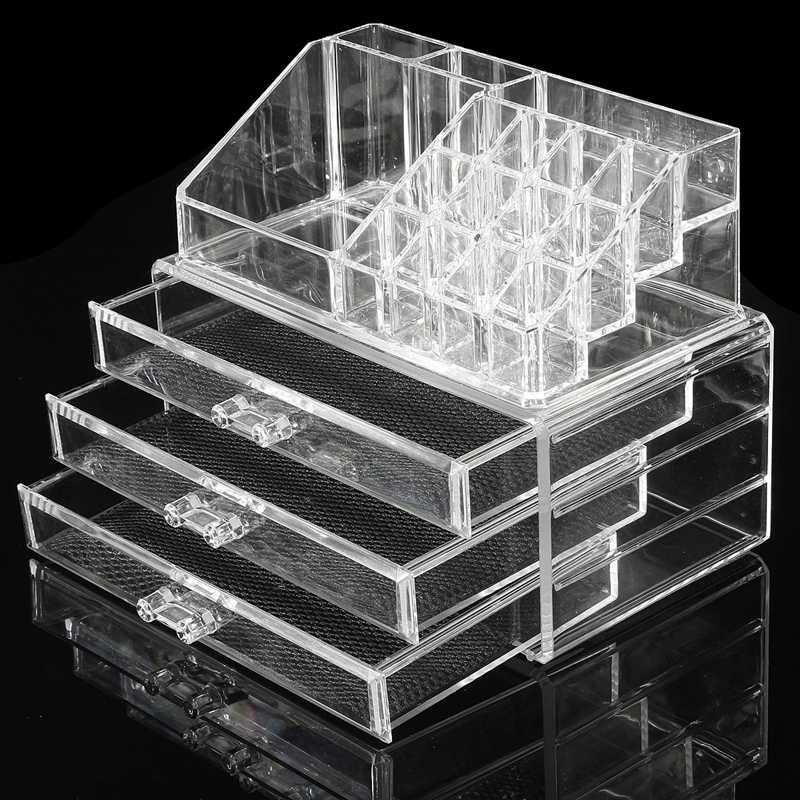 Acrylique maquillage organisateur 3 tiroirs bo te de - Rangement maquillage acrylique transparent ...