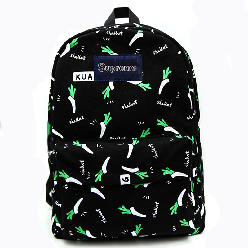 2016 Hot Sale Canvas School Bag Unique Fashion Canvas Backpack Cute Girl Fruit Pattern Printing Women Traveling Backpacks(China (Mainland))