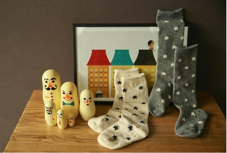 Стильные носки со звездами для детей и взрослых. Мягкий хлопок.1 пара в комплекте