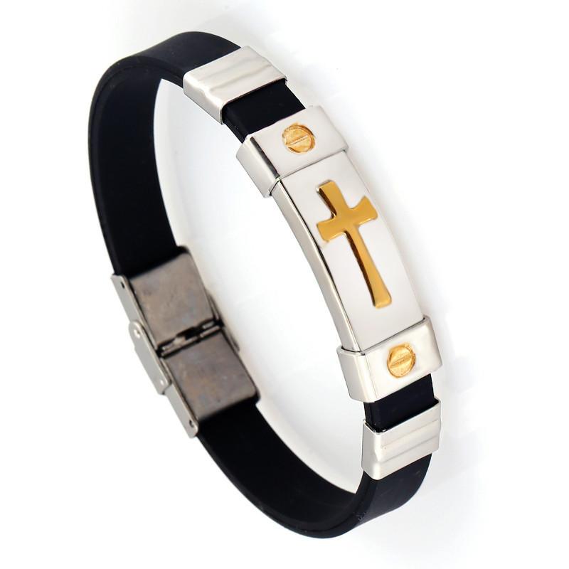 JUJIE Stainless Steel Bracelet Bangles 18K Gold Plated Cross Cuff Bracelet Bangles Fashion Men Bracelets & Bangles - 5(China (Mainland))