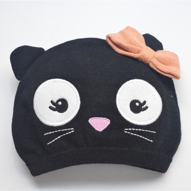 Девочки шапочки из 100% хлопка розовый бабочка-узлов черная кошка вязаная шапка 2016 ...