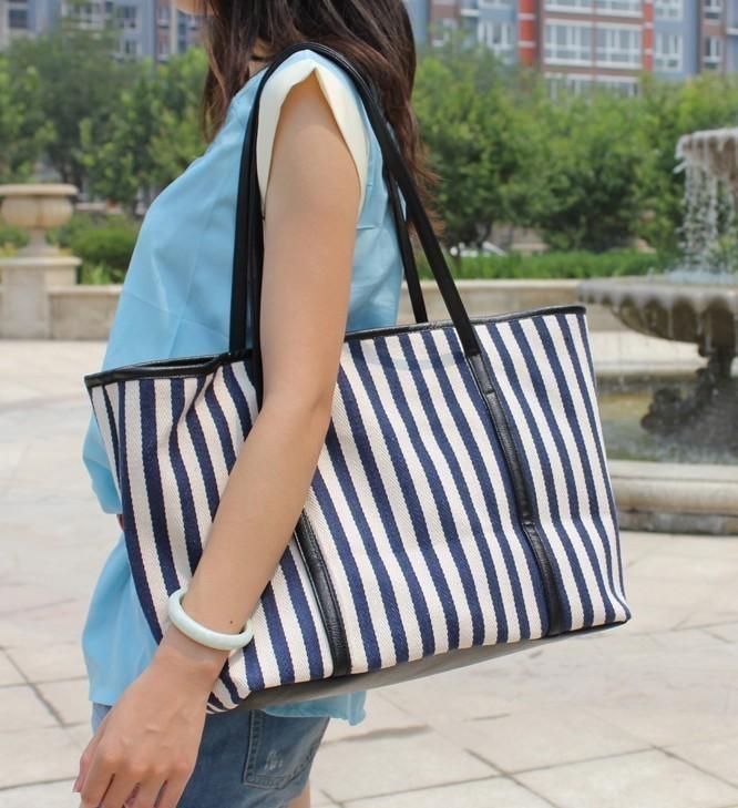 Women's handbag 2013 shoulder bag navy style stripe large capacity canvas(China (Mainland))