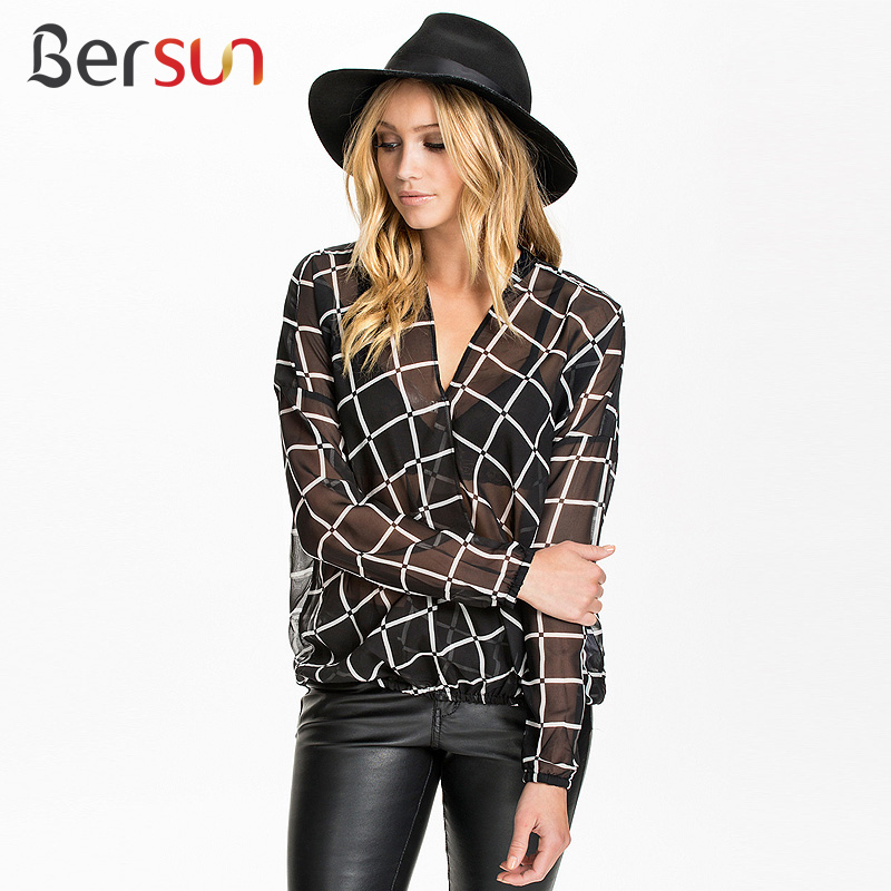 Bersun 2015 Summer Fashion Chiffon Blouse Sexy Transparent ...