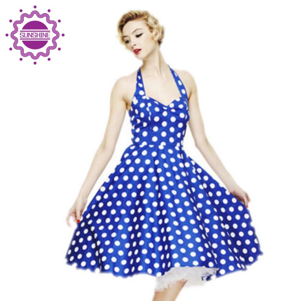 Women Fashion Summer Style Dresses Retro Audrey Hepburn Vestidos Vintage Polka Dot Dress Big Swing Backless Rockabilly Plus Size(China (Mainland))