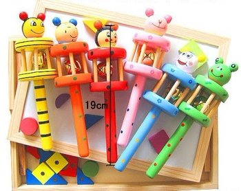 FREE SHIPPING/Baby Toys /Baby Cartoon Animal Wooden Toys Wooden Rattle With 6 design asst