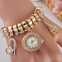 Classic Gold Plated Women Watch Bracelet Dress Female Rhinestone Wristwatches bracelets Christmas Gift Jewelry Free Shipping(China (Mainland))
