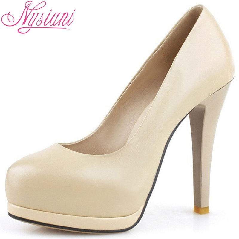 Nysiani New High-Heeled Shoes Women Platform Pumps Round Toe Thin Heel Sexy Fashion Party Shoes Genuine Leather High Heels 11cm(China (Mainland))
