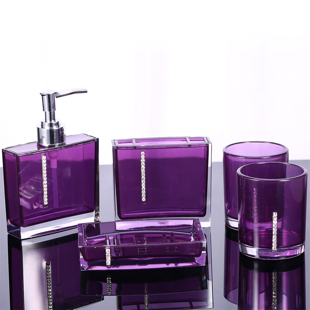 5Pcs/Set Acrylic Bathroom Set Accessories Hand Soap Dish Dispenser Tumbler Toothbrush Holder(China (Mainland))