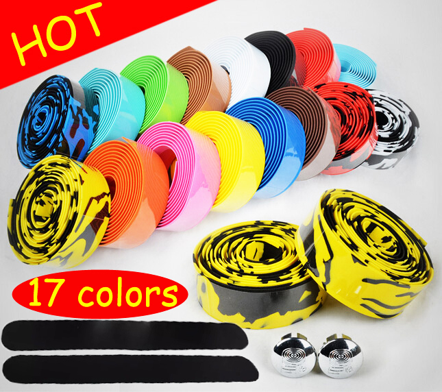 Hot Sale!2015 New 17 Colors Camouflage Cycling Handle Belt Road Bike Bicycle Cork Handlebar Tape Wrap with Bar Plugs bike tape(China (Mainland))