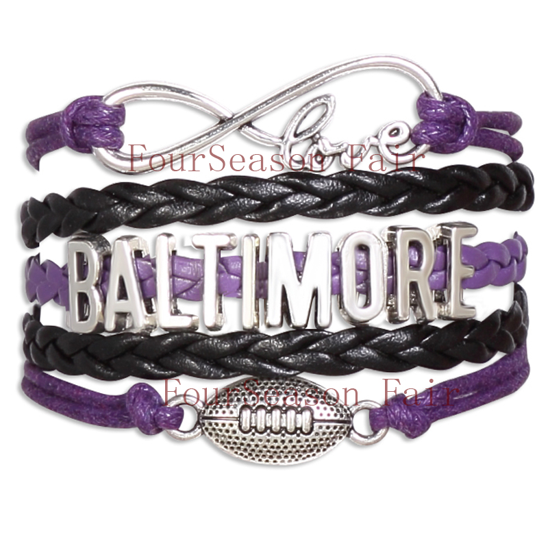 Customizable-Infinity Love Baltimore football Team NFL Bracelet purple black NCAA Wristband friendship Bracelets-Drop Shipping(China (Mainland))