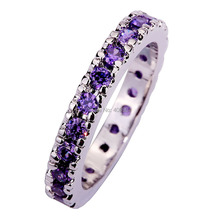 Wholesale  Dazzling 497R1 Round Cut Purple Amethyst 925 Silver Ring Size 7  8 9 10 11  Free Shipping