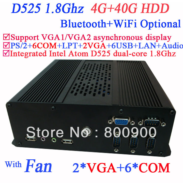 hot sales mini itx case htpc mini pc linux with 2 VGA 6 COM Intel Atom D525 dual core 1.8Ghz 4G RAM 40G HDD with LVDS supported(China (Mainland))