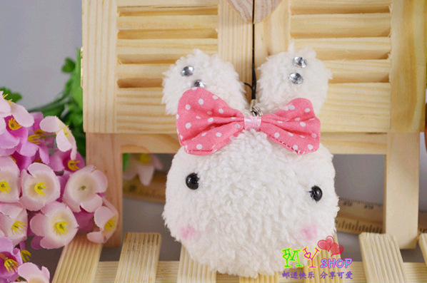 Free shipping 10pieces/lot cute stuffed mini plush bunny toys H-9.5cm baby rabbit doll keychain,valentine gift, easter gift(China (Mainland))