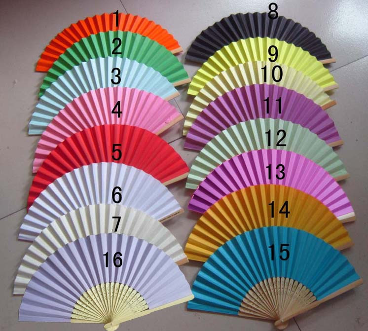 Wedding Baby Shower Festa Boda And Gifts 200 Pcs/lot Paper Fan,bride Hand Fan With Bamboo Ribs,craft Bridal Favor Gift 15 Color (China (Mainland))