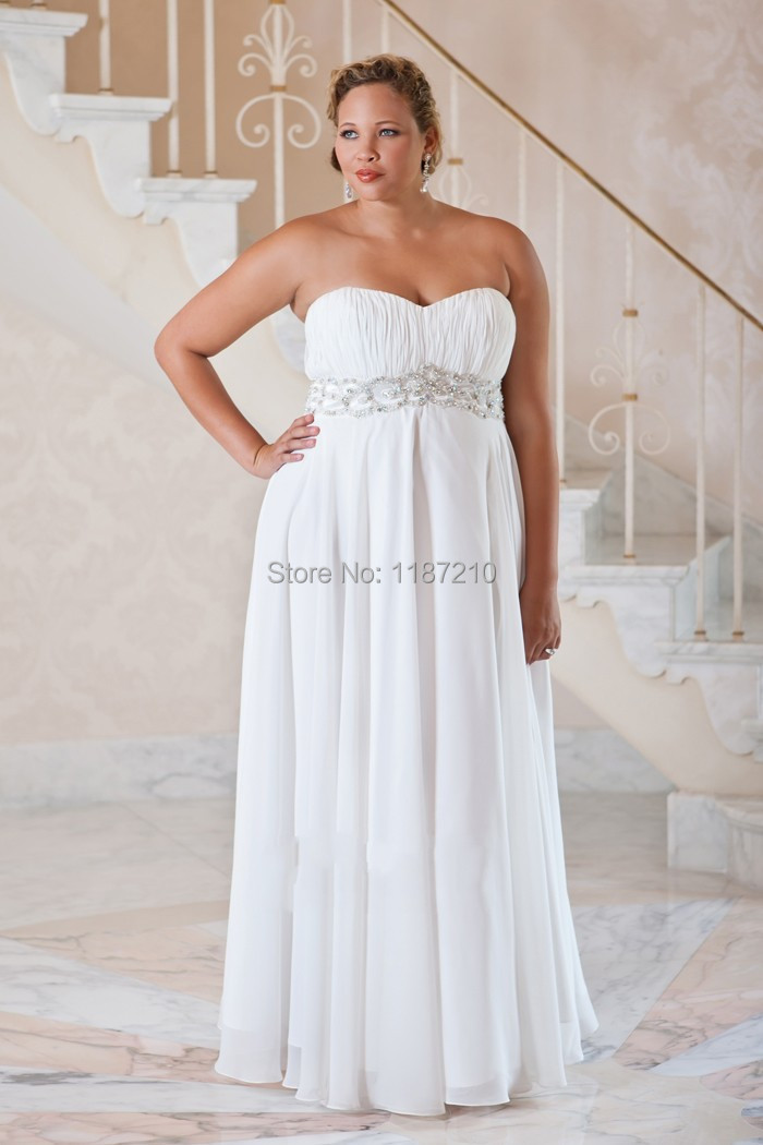 Long cheap plus size wedding dresses 2015 summer beach for Cheap simple plus size wedding dresses