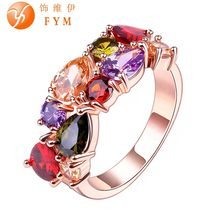 FYM Brand Colorful Cubic Zircon Engagement Ring Hypoallergenic Copper Rose Gold Plated Wedding Rings for Women Wholesale RI0003(China (Mainland))