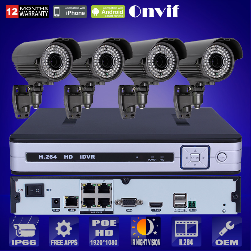Plug And Play 4CH POE NVR CCTV Camera System 2TB HDD Onvif P2P1080P POE HD H.264 Zoom 2.8mm-12mm 78IR Outdoor Security IP Camera(China (Mainland))
