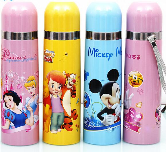 1505-Genuine 500ml Kids Cartoon Thermos Bottle Mug Cup Stainless Steel Vacuum Kettle Outdoor Picnic Drinkware Hello Kitty Mickey(China (Mainland))