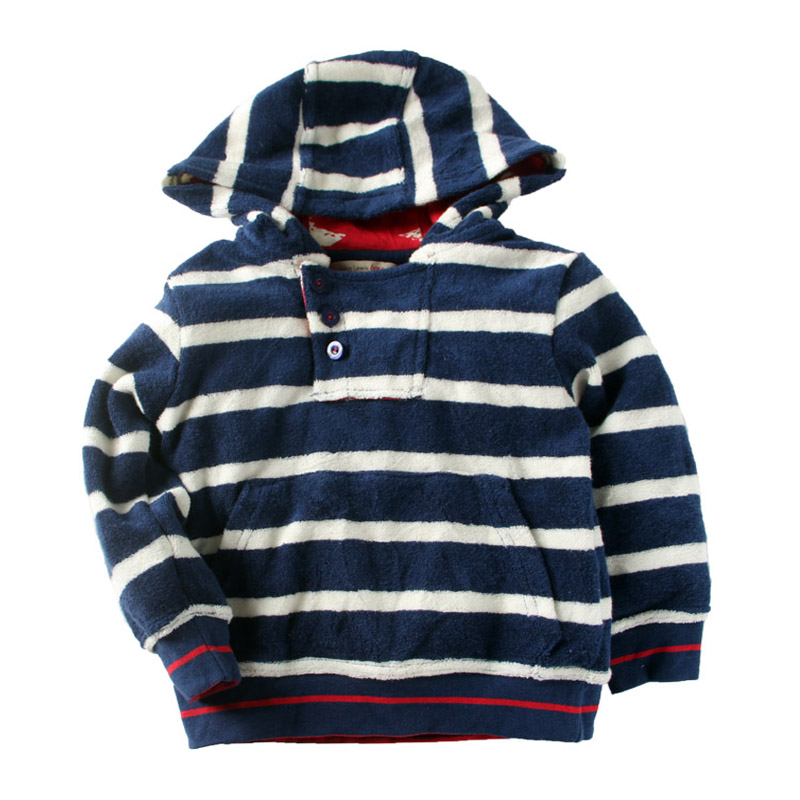 Children Boy Towel Cotton Hooded Coat Kids Boy Spring Fall Jacket Clothing Kid Boy Navy White Stripe Hodded Outwear 5t 6t Free(China (Mainland))