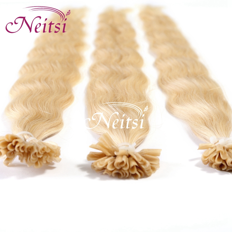 """Neitsi100% Brazilian Remy Hair Pre-Bonded U Nail Tip Hair Extensions Wavy 20"""" 1g/s 25g 613# light bldone color fast shipping(China (Mainland))"""